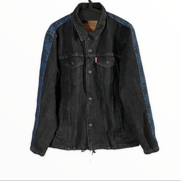 Levi's Blue Black Colorblock Denim Trucker Jacket